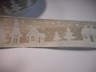 Katoen band huisje kerst 40 mm breed per meter