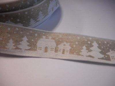 Katoen band huisje kerst 25 mm breed per meter