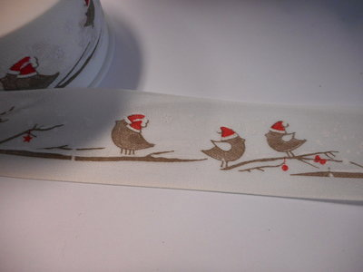 Katoen band vogeltjes 40 mm breed per meter