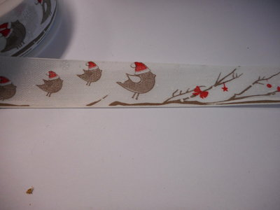 Katoen band vogeltjes 25 mm breed per meter