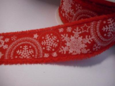Katoen band sneeuwvlokken print 30 mm breed per meter