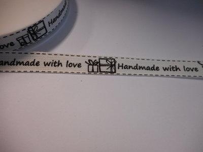Katoen band 15 mm breed hand made with love zwart wit per meter