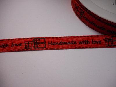 Katoen band 15 mm breed hand made with love zwart rood per meter