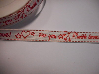 Katoen band 15 mm breed for you with love wit rood per meter