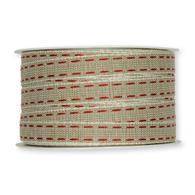 Stiksel band naturel rood per meter