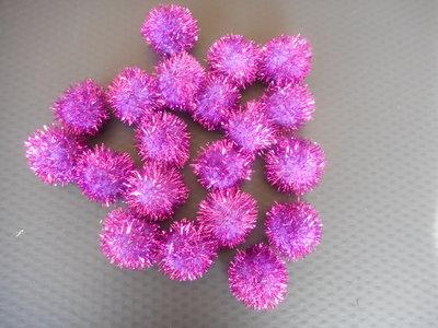 Pom poms glitter paars 25 mm 20 stuks per zakje