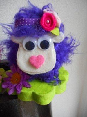 Doe het zelf pakket flower power schaap paars