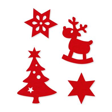 Vilt figuurtjes kerst rood assorti 12 stuks per zakje