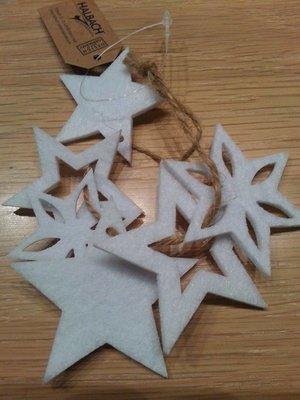 Vilt sterren punt wit 6 stuks per zakje