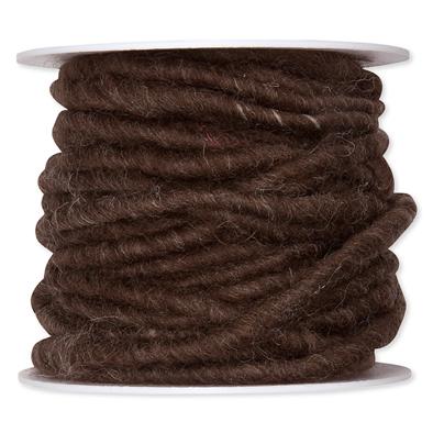 Wolkoord donker bruin 7 mm dik op rol 10 meter per rol