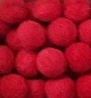 Vilt balletjes rood 10 mm doorsnee 10 stuks per zakje