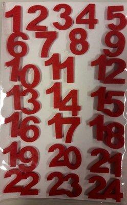 Vilten cijfers rood per velletje