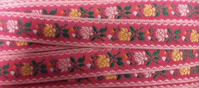 Geweven band roosjes roze per meter