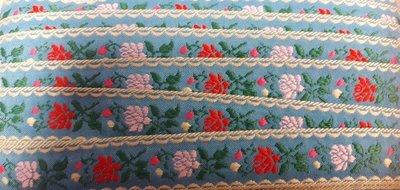 Geweven band roosjes blauw per meter