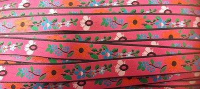 Geweven band bloemen roze per meter