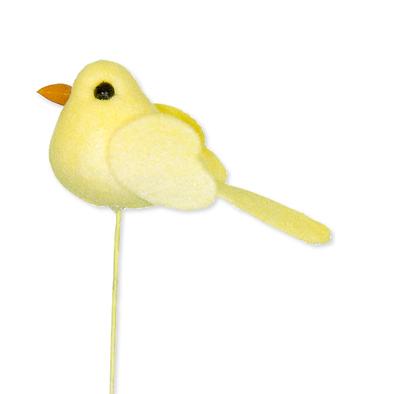 Mini vilt vogeltje geel op steker 4,8 x 2 cm per stuk
