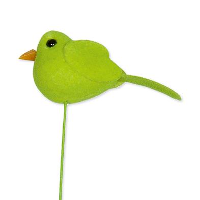 Mini vilt vogeltje fel groen op steker 4,8 x 2 cm per stuk