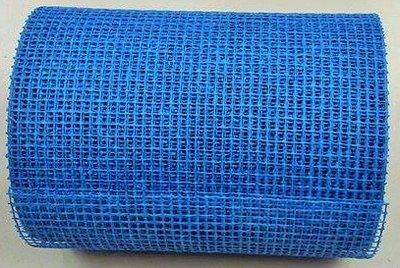 Jute band blauw 17 cm breed per meter