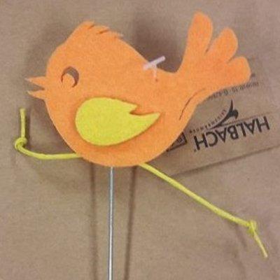 Vilt vogel op steker oranje per stuk