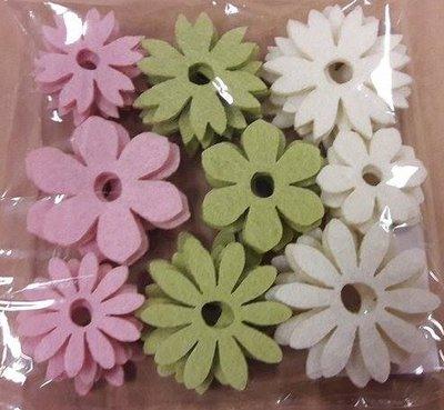 Vilt bloemen creme, groen en roze assorti 9 stuks per zakje