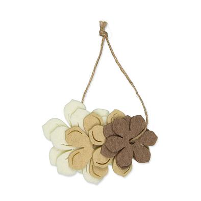 Vilt bloemen creme, licht bruin en bruin 6 stuks per setje