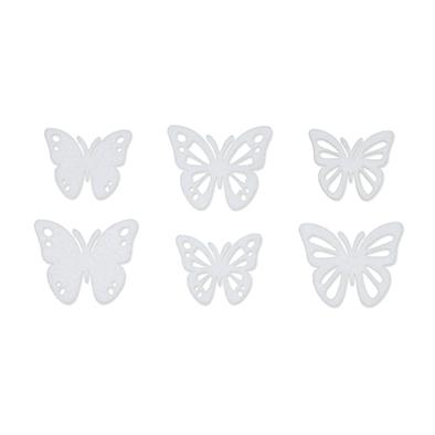 Vilt vlinders wit 6 stuks per setje