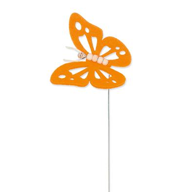 Vilt vlinder oranje op steker per stuk