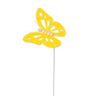 Vilt vlinder geel op steker per stuk