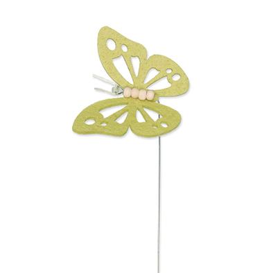 Vilt vlinder zacht groen op steker per stuk