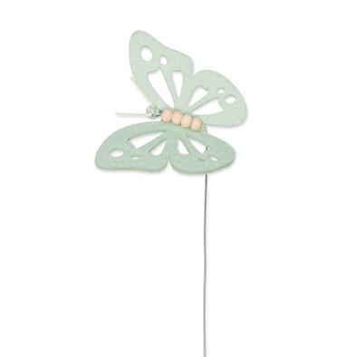 Vilt vlinder mint groen op steker per stuk