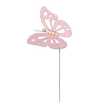 Vilt vlinder licht roze op steker per stuk