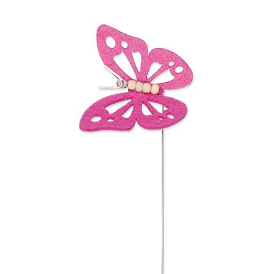 Vilt vlinder roze op steker per stuk