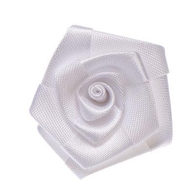 Satijnen roosje wit 3 cm doorsnee per stuk