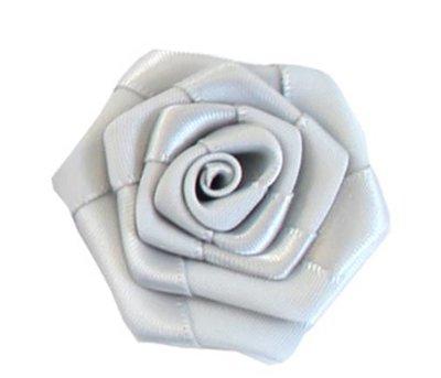 Satijnen roosje grijs 3 cm doorsnee per stuk