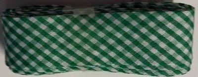 Biasband groen geruit 2 cm breed 2 meter klosje