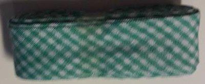 Biasband mint groen geruit 2 cm breed 2 meter klosje