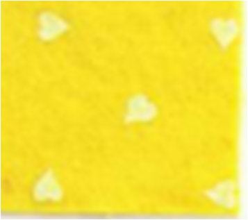 Vilt lapje geel met hartjes print wit 30 x 40 cm per lapje
