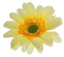 Stoffen kunst gerbera groot geel 10 cm doosnee per stuk