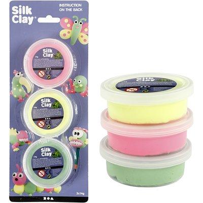 Silk clay neon 3 potjes van 14 gram per set