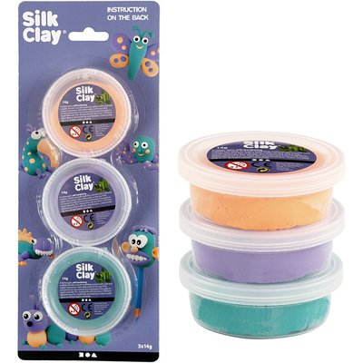 Silk clay zachte kleuren 3 potjes van 14 gram per set