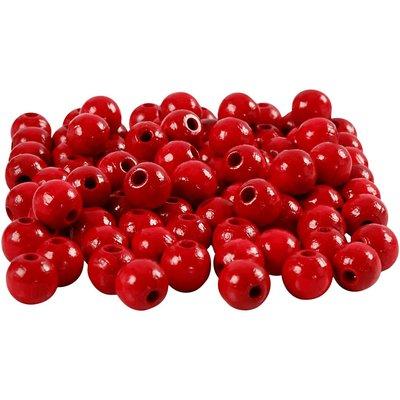 Houten kraaltjes rood 8 mm doorsnee circa 80 stuks per zakje