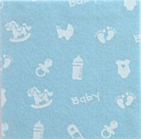Vilt lapje blauw met baby print 30 x 40 cm 1 mm dik per lapje