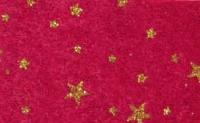 Vilt bordeaux met sterren glitter print goud 30 x 40 cm per lap