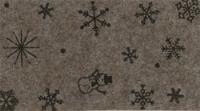 Vilt lapje met kerst print bruin gemeleerd sneeuwpop ster 30 x 40 cm per lapje