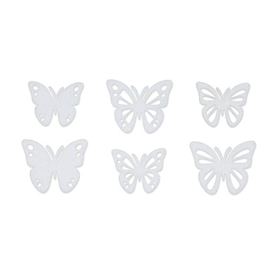 Vilt vlinders wit 6 stuks per zakje