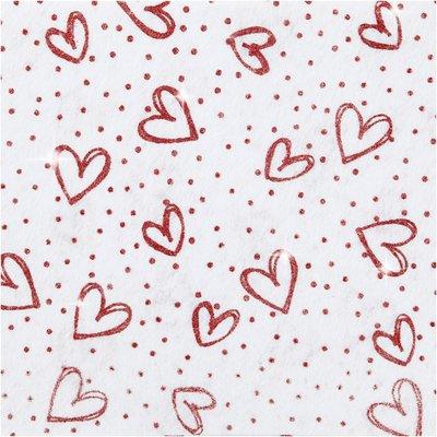 Vilt lapje wit met rode hartjes print glitter 20 x 30 cm per lapje