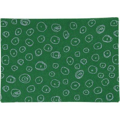 Vilt lapje groen print glitter 20 x 30 cm per lapje