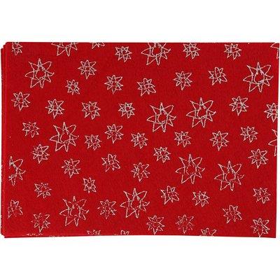 Vilt lapje rood print glitter 20 x 30 cm per lapje