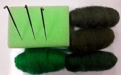 Starters pakket naald vilten groen mini