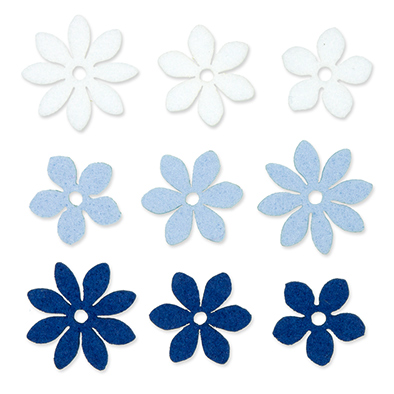 Vilt Bloemetjes, Wit/Licht Blauw/Donker Blauw, 36 stuks